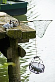 Fishing tackle on a landing stage