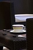 Cup of tea on table in spa