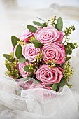 Bridal bouquet of pink roses