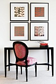 Pictures on wall, table and chair