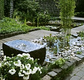Garden with fountain and pond