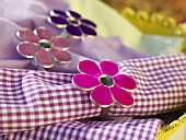 Fabric napkins with napkin rings