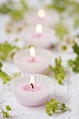 Tealights in muffin cases, lady's mantle and chamomile