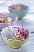 Hydrangea flowers in small bowl