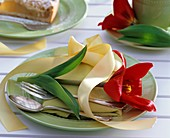 Red tulip plate decoration