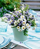 Vase of bellis, forget-me-nots and spiraea