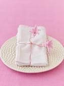 White napkin with hyacinth flowers