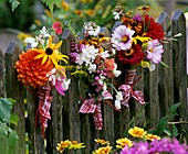 Posies of summer flowers on a fence
