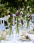 Table decoration of oxeye daisies & meadow clary out of doors