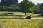 Haymaking with tractor