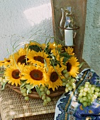 Sunflower table decoration and grapes