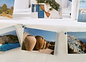 Greek postcards as decoration for a buffet