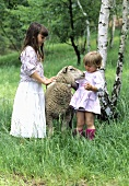 Two girls in a field with a sheep