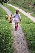 A little girl and some chickens on a farm track