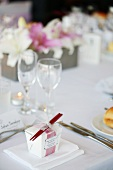Favour on table laid for special occasion