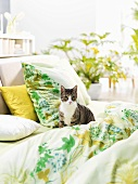 Cat in a bed (spring decor)