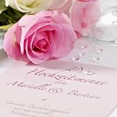 Wedding menu and roses