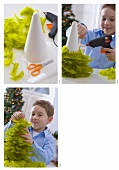 Boy making a Christmas tree from green feathers