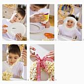Boy making a popcorn wreath