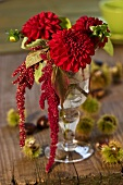 Pompom dahlias and amaranthus in a glass