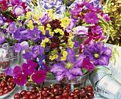 Cherries & summer flowers (clematis etc.) in small buckets