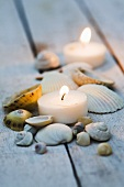 Candles and maritime table decoration