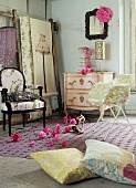 Bedroom with pink chest of drawers