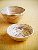 Two bamboo bowls