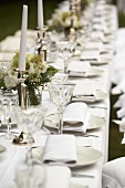 A white wedding breakfast table