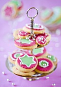 Christmas cookies on a cake stand