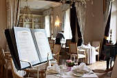 The menu of the restaurant in the luxury hotel Chateau Mcely (Czech Republic)