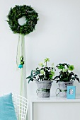 A wreath on the wall, pot plants and Christmas decoration