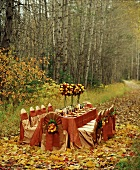 An Autumn Table Setting in the Woods