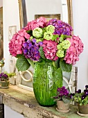 Bouquet of Hydrangeas with Potted Violets