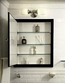 Open Medicine Cabinet in a Bathroom
