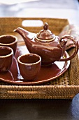 Ceramic Tea Set on Woven Tray