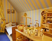 A childrens' room with a shop