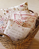 A basket of decorative cushions
