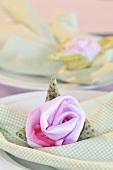 A fabric rose