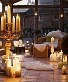 Decorative candles in a living room