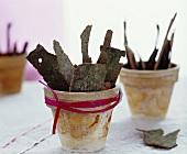 Tree bark in flower pots