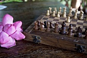 A purple lotus leaf next to a chess board
