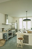 A kitchen with an island counter