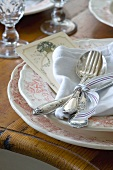 A place setting with silver cutlery