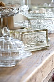 Old fashioned glass butter dishes and glass containers