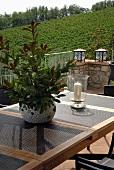 Pflanzentopf und Windlicht auf Terrassentisch mit Blick auf einen Weinberg