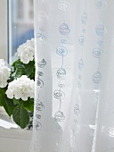 A white curtain and a pot of flowers on a window sill