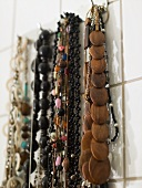 Necklaces made of plastic and wood