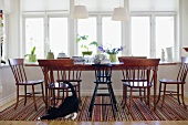 A cat playing near dining table and chairs in front of a window of a country house