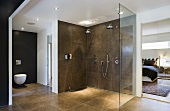 A large shower area and a toilet against a black wall in a designer bathroom with a view into a bedroom